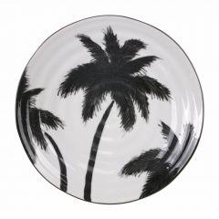 HKliving serveer bord Jungle palm zwart wit porselein