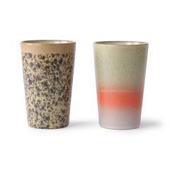 Hkliving ceramic 70's thee mokken 2 stuks