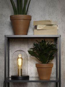 Its About RoMi tafellamp ijzer hout glazen stolp rond zwart transparant
