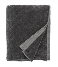 Nordal Denmark woonaccessoires velvet bedsprei donker grijs