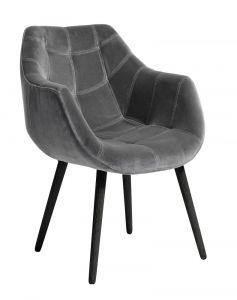 Nordal Denmark Eetkamer armstoel grijs velvet met zwart houten poten