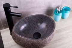 Saniclear riviersteen waskom set met hoge zwarte kraan