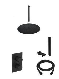 Saniclear Rea inbouw regendouche met plafond arm hoofddouche 20cm mat zwart