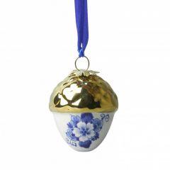 Heinen Delfts Blauw kerstbal noot met gouden dopje