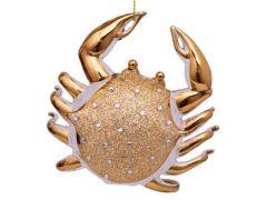 Vondels kerstbal krab wit goud 9 cm