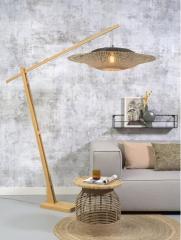 Good & Mojo Floor lamp Kalimantan h. 207 cm / shade horiz. 87 x 20cm nat/bl.