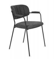MD Interior eetkamerstoel Jolien met armleuning donker grijs / zwart - Set van 2