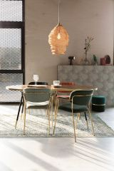 MD Interior eetkamerstoel Jolien met armleuning donkerblauw / goud - set van 2