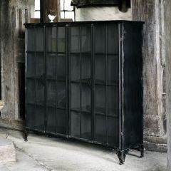 Nordal DOWNTOWN Vitrinekast 4 deurs metaal zwart