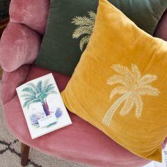 À La velvet kussen met palmboom goud 45 x 45 cm