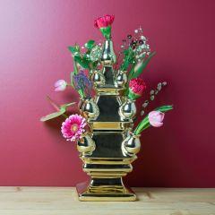 Heinen Delfts Blauw Tulpenvaas 3-delig goud 40 cm