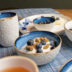 Heinen Delfts Blauw bloesem koffiekop blauw