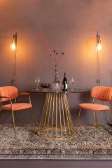 MD Interior Glazen eettafel Floris zwart / goud