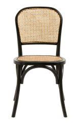 Nordal WICKY stoel vlechtwerk zwart naturel | 45 x 42 x 86 cm