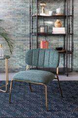 MD Interior loungestoel Jolien donker groen / goud- set van 2