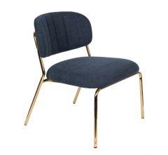 MD Interior loungestoel Jolien donker blauw / goud- set van 2