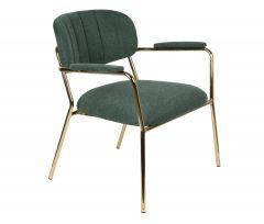MD Interior eetkamerstoel Jolien met armleuning donker groen/ goud - set van 2