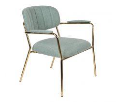 MD Interior loungestoel Jolien met armleuning licht groen / goud - set van 2