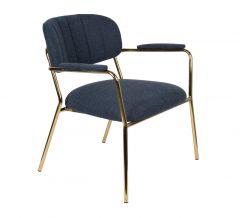 MD Interior loungestoel Jolien met armleuning donker blauw / goud - set van 2