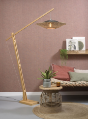 Good & Mojo Floor lamp Kalimantan bamboo h.207cm/shade horiz.60x15cm nat/bl.