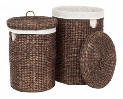 Home Delight wasmand waterhyacinth rond brown wash S