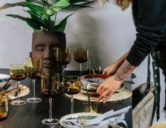 Nordal RETRO witte wijn glazen amber set van 6
