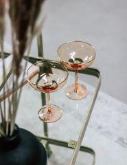 Nordal GOLDIE cocktail glas roze met gouden rand