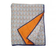 Nordal COSMO plaid blauwe bloemen en oranje / bruine  achterkant | 140 x 210 cm