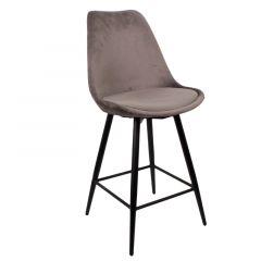 Pole to Pole Leaf Kitchen Bar Chair Dark Grey Velvet per 2 stuks