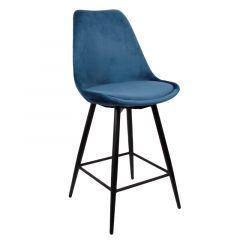 Pole to Pole Leaf Kitchen Bar Chair Ocean Blue Velvet per 2 stuks