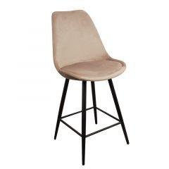 Pole to Pole Leaf Kitchen Bar Chair Sand White Velvet per 2 stuks