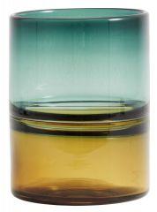 Nordal vaas kleurglas amber/ turquoise