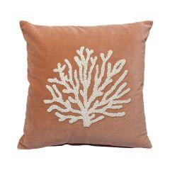À La velvet kussen met kralen koraal roze 45 x 45 cm