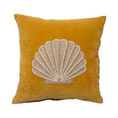 À La velvet kussen met kralen schelp geel 45 x 45 cm