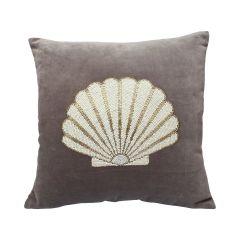 À La velvet kussen met kralen schelp grijs 45 x 45 cm