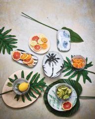HKliving bold & basic ceramic Jungle serving bowl palms porcelain