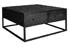 MD Interior Nero visgraat salontafel zwart 80 x 80 x 40 cm