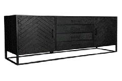 MD Interior Nero visgraat dressoir zwart 165 x 45 x 85 cm