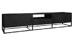 MD Interior Nero visgraat TV meubel zwart 210 x 45 x 50 cm