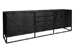 MD Interior Nero visgraat dressoir zwart 210 x 45 x 75 cm