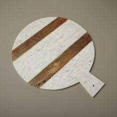 Be Home serveerplank rond wit marmer met hout