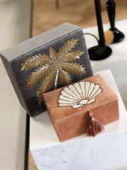 À la velvet box met palmboom kralen zilver grijs | 15x20x7.5 cm