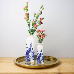 Heinen Delfts Blauw vaas vierkant bloem en pauw groot 22 cm