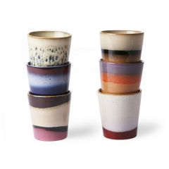 HKliving 70's ceramic coffee mugs 180 ML (set of 6)