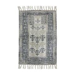 HKliving  bedrukt badmat black / white overtufted 60 x 90 cm