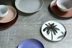 HKliving bold & basic ceramic Jungle dinner plate palms porcelain