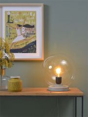 Its About RoMi tafellamp glazen bol betonlook grijs transparant