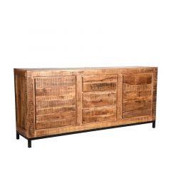 LABEL51 Ghent industrieel mangohouten dressoir met zwart frame 190cm