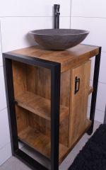 MD Interior Mocu wastafelmeubel met natuurstenen kom 60 cm
