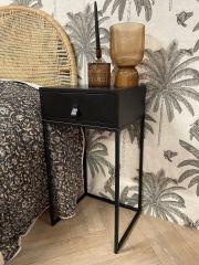 MD Interior Sydney nachtkastje hout met zwart metalen frame